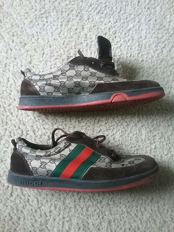 6279970e8e93 Used Size 10 gray-black-green-and-red gucci shoes for sale in ...