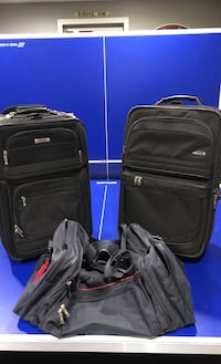 """Luggage Trio - two 21"""" black roller bags - navy blue large duffle bag"""
