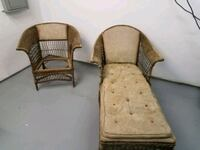 Antique Wicker Chair and Childs Chaise lounge Three Oaks, 49128