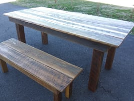 Rustic Barn wood Dining table with one bench