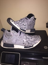 pair of gray Adidas NMD shoes with box Riverview, E1B 3G9