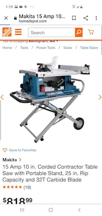 """15amp 10"""" contractor table saw w/ hydraulic stand Vancouver, V5Y 2V7"""