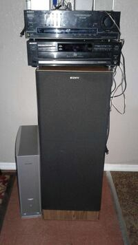 black Sony amplifier with subwoofer speaker
