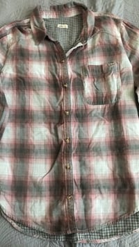 Hollister plaid flannel shirt pink, white and navy features  Winnipeg, R3G 3B2