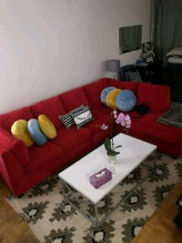 Red velvet sectional sofa  Toronto, M3C 1C2