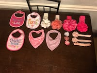 Baby girl pink and white hair bows and bibs