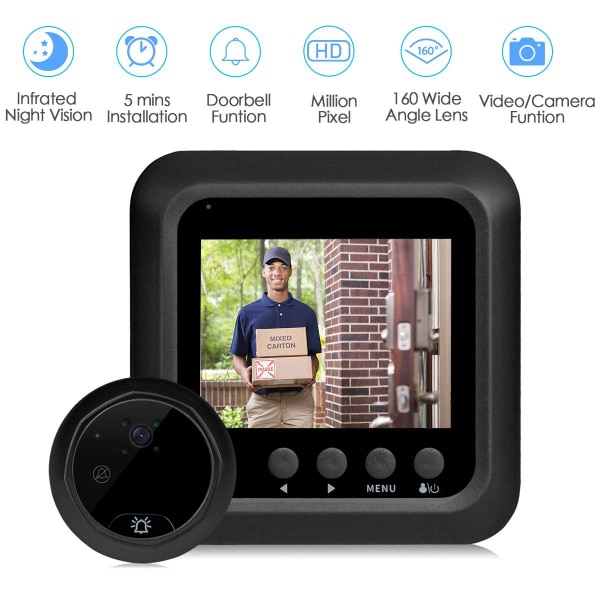 New Home Wireless Video Doorbell HD, 2 4inch Peephole Door Bell  Camera-160°Wide Angle Lens-Night Vision-NO WiFi/NO APP-Peephole Needed  (Doorbell)