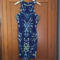 Blue and yellow halter dress