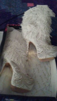 Bling white boots
