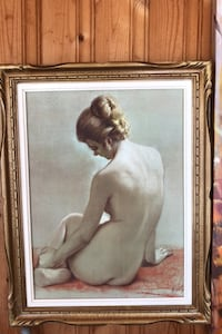 Painting in wooden frame