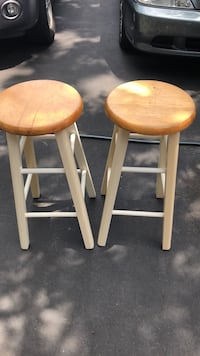 two brown-and-white wooden stools Ashburn, 20147