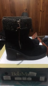 Black bella mate suede chunky heeled mid-calf snow boots with box Arlington, 22203