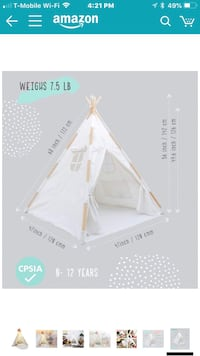 White Teepee for toddlers and kids New York, 10469