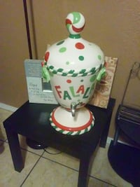 white and green ceramic table lamp base El Paso, 79904