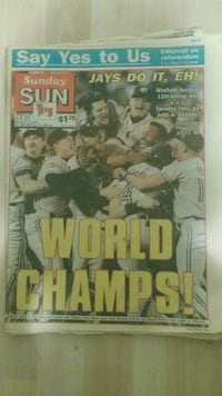 Blue Jays world series champs newspapers Guelph, N1H 8N8