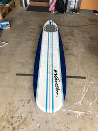 blue and white striped WaveStar surf board