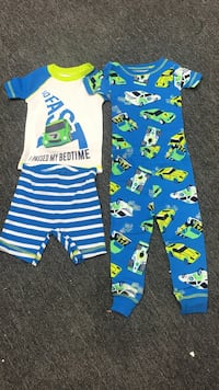 Carters 9m toddler's blue and white footie pajama's