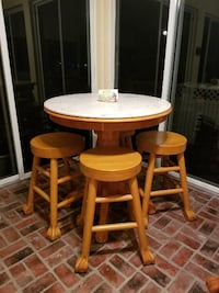 Solid Oak, Marble Top Pedestal Table and Four Stools