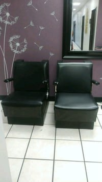 two black leather padded armchairs Arlington, 76018
