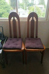 two brown wooden framed padded armchairs New Westminster, V3L 3C6