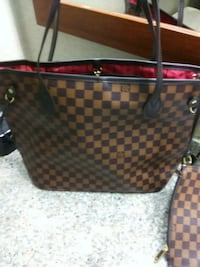 brown and black checkered leather tote bag Nashville, 37013