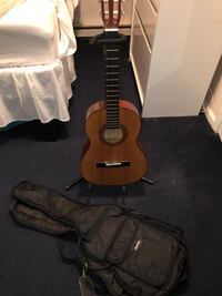 Guitar, case, and stand