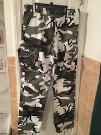 Black and white camouflage pants