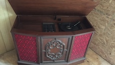 brown and red wooden classic radio