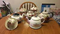 white and pink floral ceramic teapot set Northern Cambria, 15714