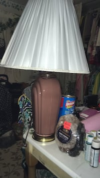 RoseCeramic colored tall table lamp with beautiful pleaded and scalloped white shade excellent condition Jacksonville, 32210