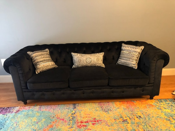 Black chesterfield sofa and chair. Must go today or tomorrow