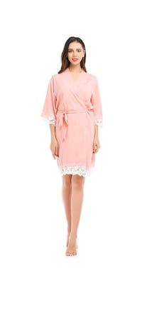 New Women's Robe Cotton Kimono with Floral Lace Trim,3/4 Sleeves,Small Las Vegas, 89178