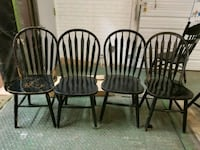 4 black painted wood curved spindle back chairs Hillside, 60162
