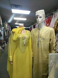 men's and women's yellow traditional dresses