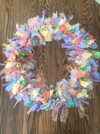 multicolored scrap textile wreath Innisfil, L9S