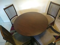 """42"""" RoundWooden dining table with 4 chairs"""