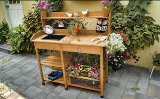 Outdoor Garden Cart With Shelves & Sink For Potting, Plant Work, Etc.