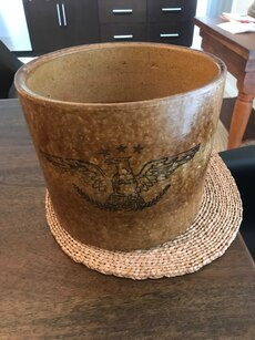 Old bowl,pot. Has old style American Eagle on it. Age unknown but old... cash only, no low balls please 9 inch by 9 inch