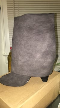 gray suede heeled boots