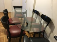 Oval glass top table with six chairs  dining set
