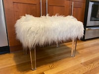 Faux flokati bench with acrylic legs