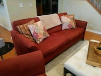 red suede 2-seat sofa Lisle, 60532