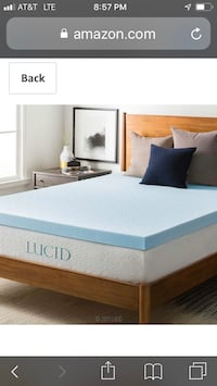 White and blue bed mattress memory foam topper Pikesville, 21133