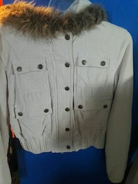 grey button-up hooded fur jacket Stockton, 95206