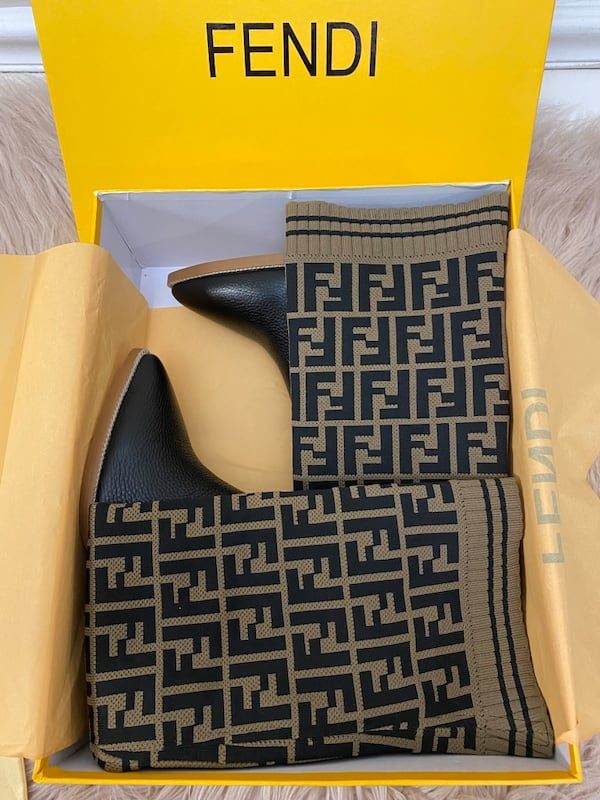 Fendi Monogram Sock Boots size 38/7.5/8 2