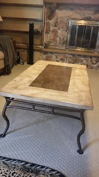 rectangular brown wooden coffee table CHICAGO