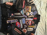 Black leather team sport patches zip-up jacket 4 xl coat been in my storage for years