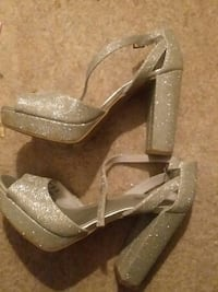 pair of gray glittered chunky-heeled sandals