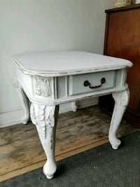 White chalk painted distressed wood side table  Hamilton