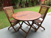 Round brown wooden teak table with two chairs dining set Carmel
